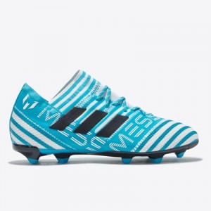 adidas Nemeziz Messi 17.1 Firm Ground Football Boots - White/Legend Ink/Energy Blue - Kids
