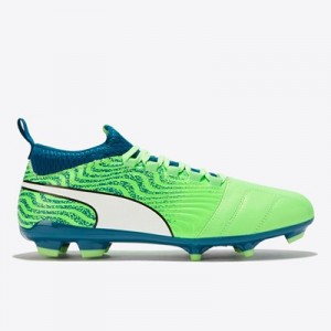 Puma One 18.3 Firm Ground Football Boots - Green Gecko/White/Deep Lagoon