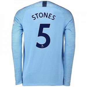 Manchester City Home Stadium Shirt 2018-19 - Long Sleeve with Stones 5 printing