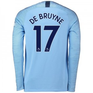 Manchester City Home Stadium Shirt 2018-19 - Long Sleeve with De Bruyne 17 printing