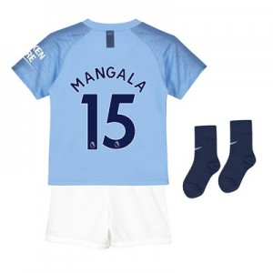 Manchester City Home Stadium Kit 2018-19 - Little Kids with Mangala 15 printing
