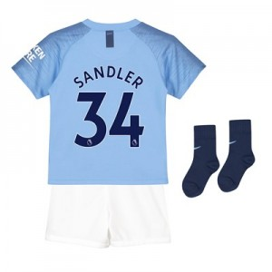 Manchester City Home Stadium Kit 2018-19 - Little Kids with Sandler 34 printing