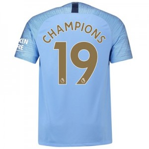 Manchester City Home Stadium Shirt 2018-19 with Champions 19 printing
