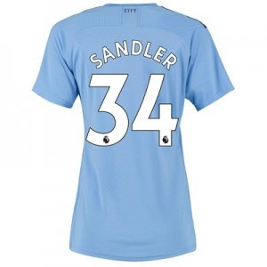 Manchester City Authentic Home Shirt 2019-20 - Womens with Sandler 34 printing