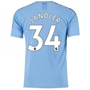 Manchester City Home Shirt 2019-20 with Sandler 34 printing