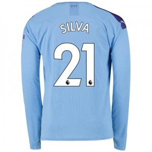 Manchester City Home Shirt 2019-20 - Long Sleeve with Silva 21 printing