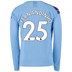 Manchester City Home Shirt 2019-20 - Long Sleeve with Fernandinho 25 printing
