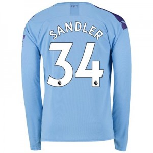 Manchester City Home Shirt 2019-20 - Long Sleeve with Sandler 34 printing
