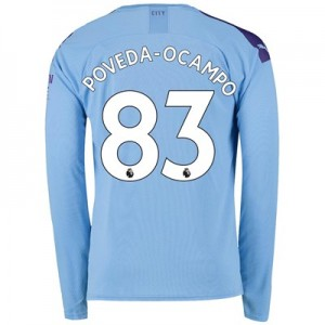 Manchester City Home Shirt 2019-20 - Long Sleeve with Poveda-Ocampo 83 printing