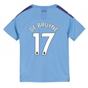 Manchester City Home Shirt 2019-20 - Kids with De Bruyne 17 printing