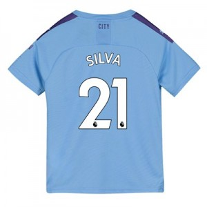 Manchester City Home Shirt 2019-20 - Kids with Silva 21 printing