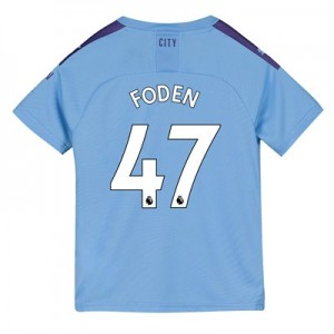 Manchester City Home Shirt 2019-20 - Kids with Foden 47 printing