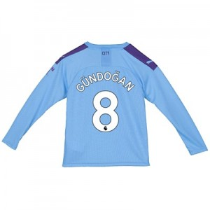 Manchester City Home Shirt 2019-20 - Long Sleeve - Kids with Gündogan 8 printing