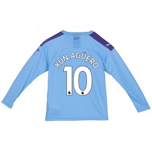 Manchester City Home Shirt 2019-20 - Long Sleeve - Kids with Kun Agüero  10 printing