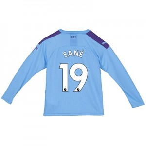 Manchester City Home Shirt 2019-20 - Long Sleeve - Kids with Sané 19 printing
