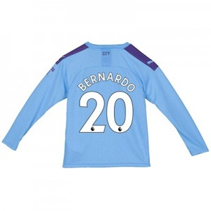 Manchester City Home Shirt 2019-20 - Long Sleeve - Kids with Bernardo 20 printing