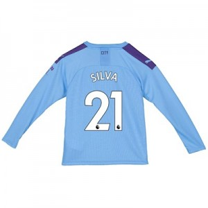 Manchester City Home Shirt 2019-20 - Long Sleeve - Kids with Silva 21 printing