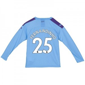 Manchester City Home Shirt 2019-20 - Long Sleeve - Kids with Fernandinho 25 printing