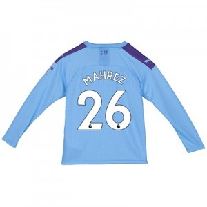 Manchester City Home Shirt 2019-20 - Long Sleeve - Kids with Mahrez 26 printing