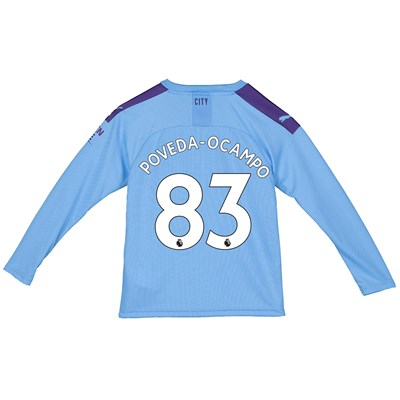 Manchester City Home Shirt 2019-20 - Long Sleeve - Kids with Poveda-Ocampo 83 printing