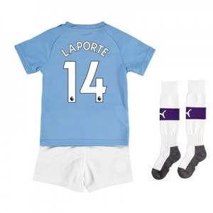 Manchester City Home Mini Kit 2019-20 with Laporte 14 printing