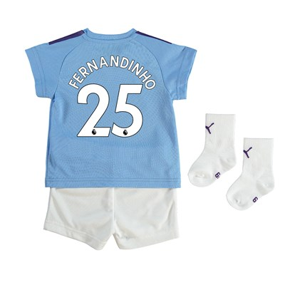 Manchester City Home Baby Kit 2019-20 with Fernandinho 25 printing