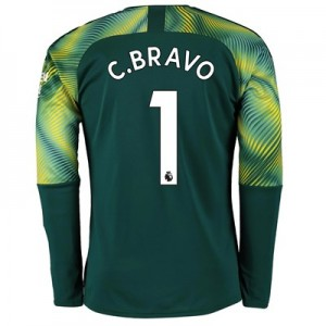 Manchester City Home Goalkeeper Shirt 2019-20 with C.Bravo 1 printing