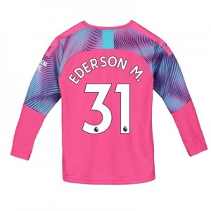 Manchester City Away Goalkeeper Shirt 2019-20 - Kids with Ederson M. 31 printing