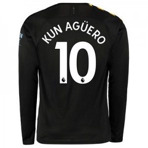 Manchester City Away Shirt 2019-20 - Long Sleeve with Kun Agüero  10 printing