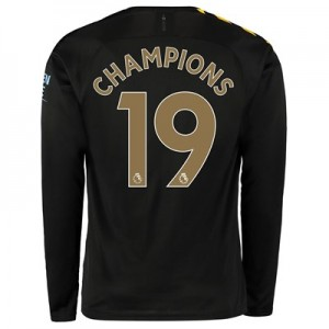 Manchester City Away Shirt 2019-20 - Long Sleeve with Champions 19 printing