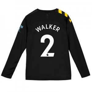 Manchester City Away Shirt 2019-20 - Long Sleeve - Kids with Walker 2 printing