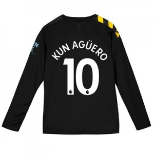 Manchester City Away Shirt 2019-20 - Long Sleeve - Kids with Kun Agüero  10 printing