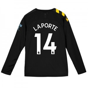 Manchester City Away Shirt 2019-20 - Long Sleeve - Kids with Laporte 14 printing