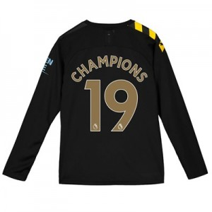 Manchester City Away Shirt 2019-20 - Long Sleeve - Kids with Champions 19 printing