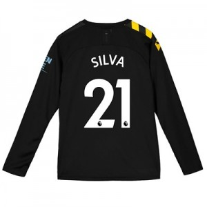 Manchester City Away Shirt 2019-20 - Long Sleeve - Kids with Silva 21 printing