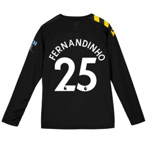Manchester City Away Shirt 2019-20 - Long Sleeve - Kids with Fernandinho 25 printing