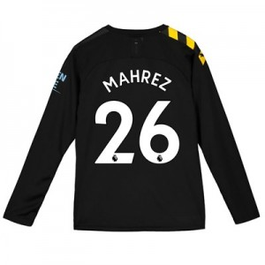 Manchester City Away Shirt 2019-20 - Long Sleeve - Kids with Mahrez 26 printing