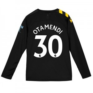 Manchester City Away Shirt 2019-20 - Long Sleeve - Kids with Otamendi 30 printing