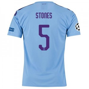 Manchester City Authentic UEFA Home Shirt 2019-20 with Stones 5 printing