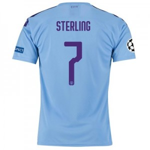 Manchester City Authentic UEFA Home Shirt 2019-20 with Sterling 7 printing