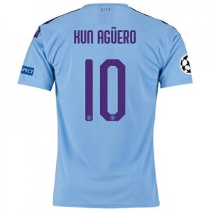 Manchester City Authentic UEFA Home Shirt 2019-20 with Kun Agüero  10 printing