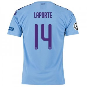 Manchester City Authentic UEFA Home Shirt 2019-20 with Laporte 14 printing
