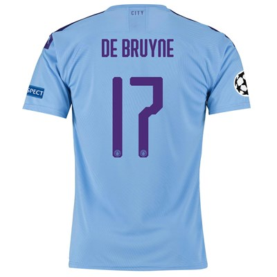 Manchester City Authentic UEFA Home Shirt 2019-20 with De Bruyne 17 printing