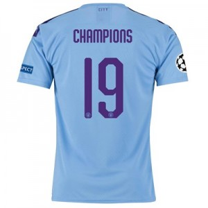 Manchester City Authentic UEFA Home Shirt 2019-20 with Champions 19 printing
