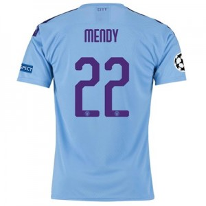 Manchester City Authentic UEFA Home Shirt 2019-20 with Mendy 22 printing