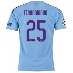 Manchester City Authentic UEFA Home Shirt 2019-20 with Fernandinho 25 printing