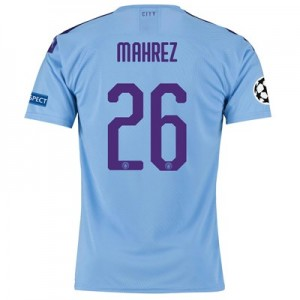 Manchester City Authentic UEFA Home Shirt 2019-20 with Mahrez 26 printing