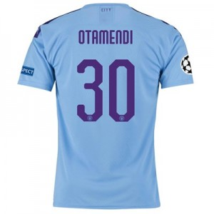 Manchester City Authentic UEFA Home Shirt 2019-20 with Otamendi 30 printing