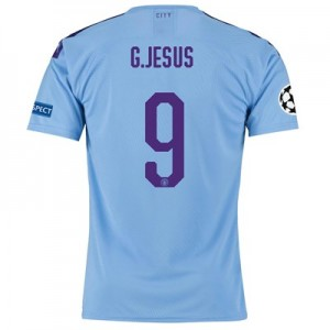 Manchester City Authentic UEFA Home Shirt 2019-20 with G.Jesus 9 printing