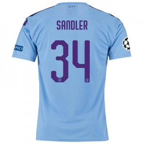 Manchester City Authentic UEFA Home Shirt 2019-20 with Sandler 34 printing